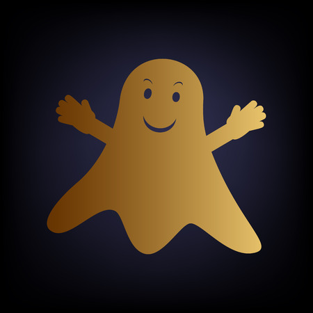 ghastly: Ghost isolated sign. Golden style icon on dark blue background.