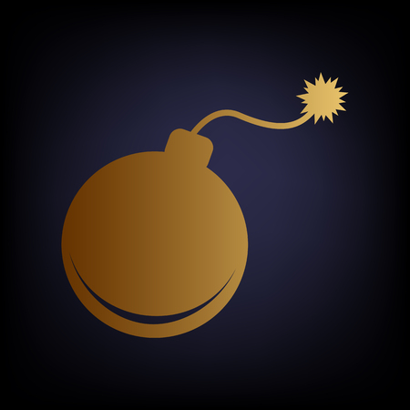 bomb sign: Bomb sign. Golden style icon on dark blue background.