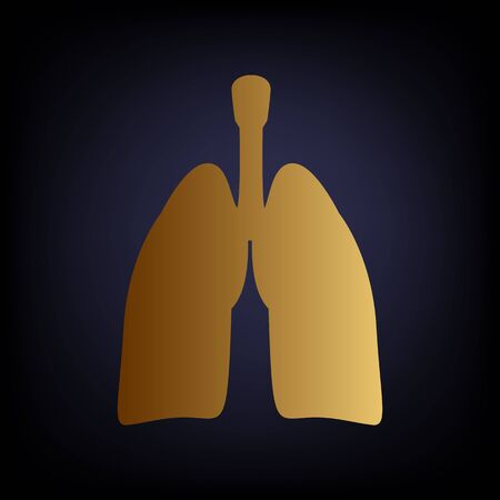 pulmones: Human organs. Lungs sign. Golden style icon on dark blue background.