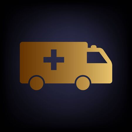 harm: Ambulance sign. Golden style icon on dark blue background. Illustration