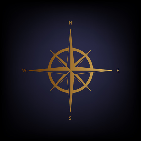 navigational: Wind rose sign. Golden style icon on dark blue background.