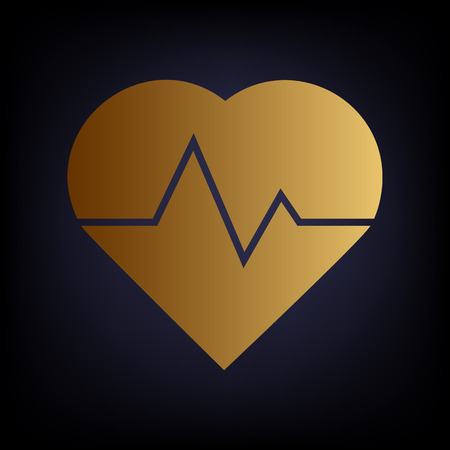 patient chart: Heartbeat sign. Golden style icon on dark blue background.