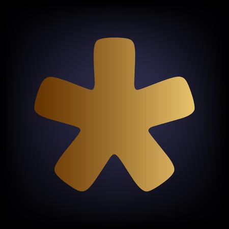 reference point: Asterisk star sign. Golden style icon on dark blue background. Illustration