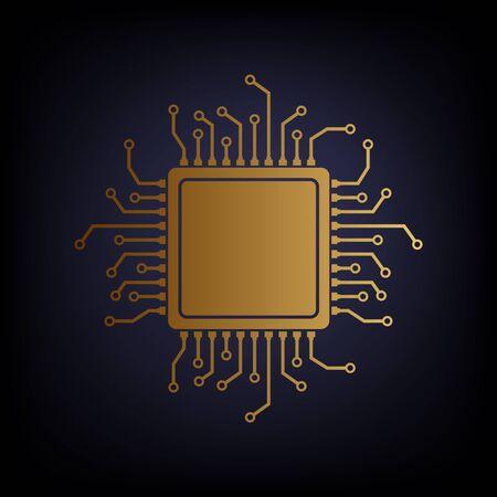microprocessor: CPU Microprocessor. Golden style icon on dark blue background.