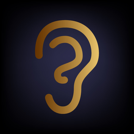 listener: Human ear sign. Golden style icon on dark blue background.