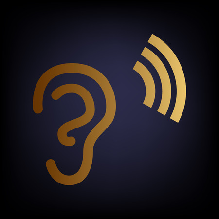 audible: Human ear sign. Golden style icon on dark blue background.
