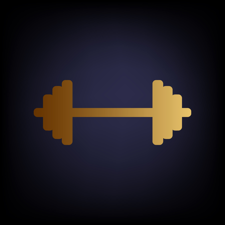 forceful: Dumbbell weights sign. Golden style icon on dark blue background.