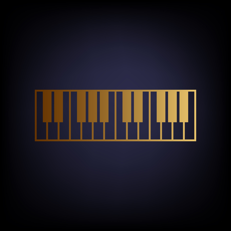acoustically: Piano Keyboard sign. Golden style icon on dark blue background. Illustration