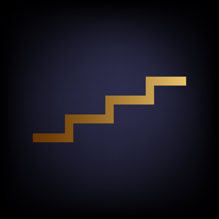 up stair: Stair up sign. Golden style icon on dark blue background. Illustration