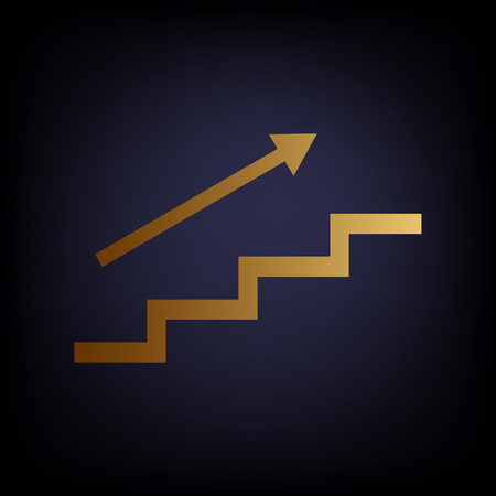 high way: Stair with arrow. Golden style icon on dark blue background. Illustration