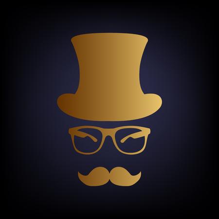 gent: Hipster style accessories design. Golden style icon on dark blue background.