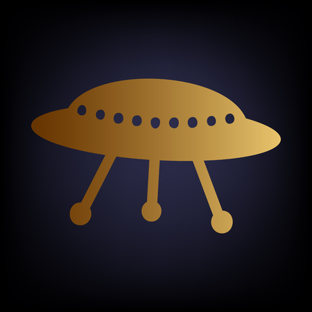 area 51: UFO simple icon. Golden style icon on dark blue background. Illustration