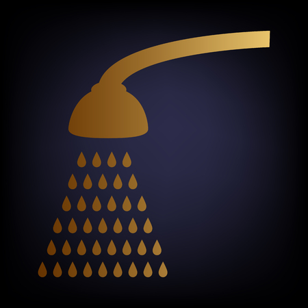 showering: Shower simple icon. Golden style icon on dark blue background.