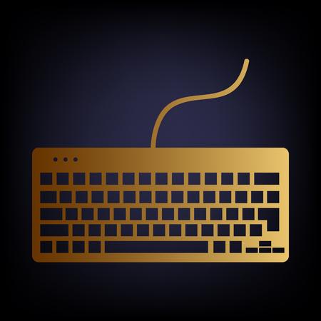 put the key: Keyboard simple icon. Golden style icon on dark blue background.
