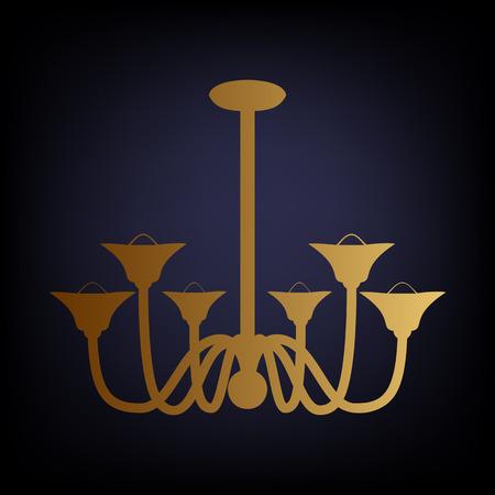 chandelier background: Chandelier simple icon. Golden style icon on dark blue background.