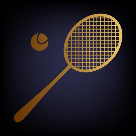 tennis racquet: Tennis racquet icon. Golden style icon on dark blue background.