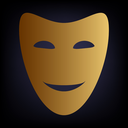comedy background: Comedy theatrical masks. Golden style icon on dark blue background.