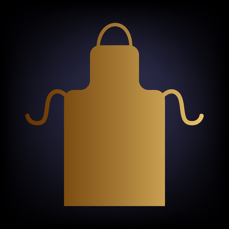 barbecue stove: Apron simple icon. Golden style icon on dark blue background. Illustration
