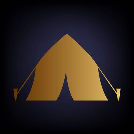 weekend activities: Tourist tent icon. Golden style icon on dark blue background.