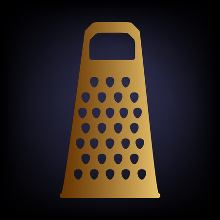cheese grater: Cheese grater icon. Golden style icon on dark blue background.