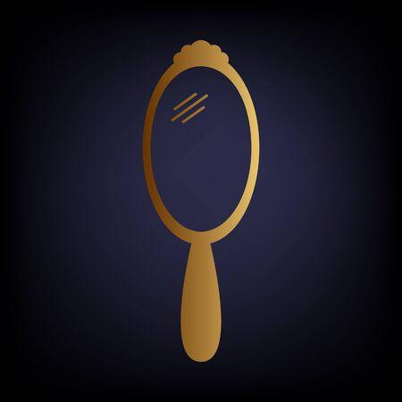 hand mirror: Hand Mirror Icon. Golden style icon on dark blue background.