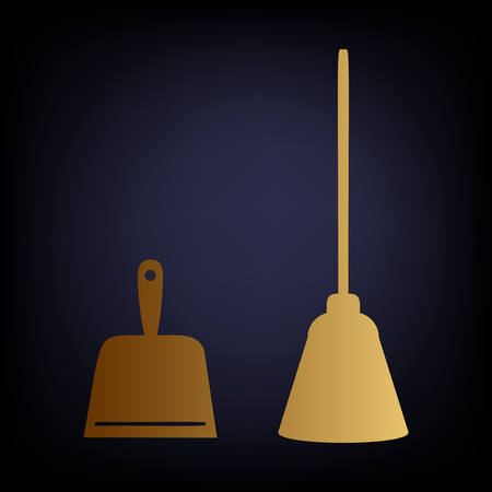 whisk broom: Dustpan vector icon. Scoop for cleaning garbage housework dustpan equipment. Golden style icon on dark blue background.