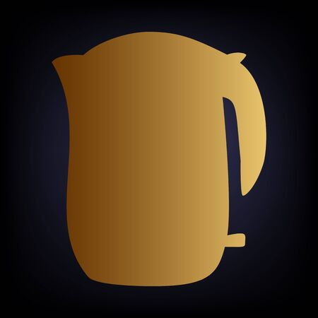 electric tea kettle: Electric kettle icon. Golden style icon on dark blue background.