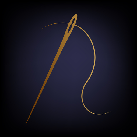 sewing needle: Needle with thread sewing needle, needle for sewing. Golden style icon on dark blue background. Illustration