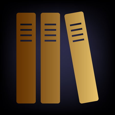 classify: Row of binders, office folders icon. Golden style icon on dark blue background. Illustration