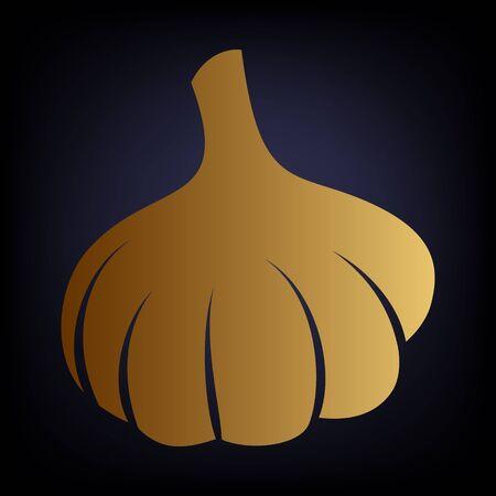 garlic clove: Garlic simple icon. Golden style icon on dark blue background.