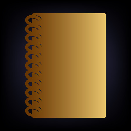 directory book: Notebook simple icon. Golden style icon on dark blue background.