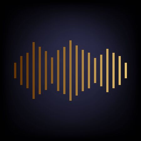 vibrations: Sound waves icon. Golden style icon on dark blue background.