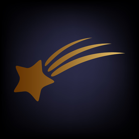 starfall: Shooting star icon. Golden style icon on dark blue background.