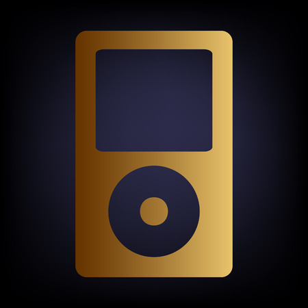 mp: Portable music device. Golden style icon on dark blue background.