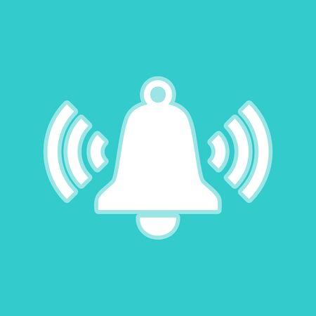 whitish: Ringing bell icon. White icon with whitish background on torquoise flat color. Illustration