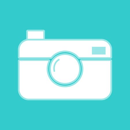 whim of fashion: Digital photo camera icon. White icon with whitish background on torquoise flat color.
