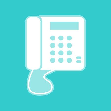 whitish: Communication or phone sign. White icon with whitish background on torquoise flat color. Illustration