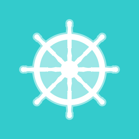 schooner: Ship wheel sign. White icon with whitish background on torquoise flat color.