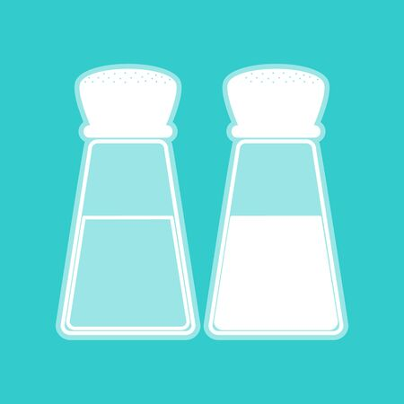 whitish: Salt and pepper sign. White icon with whitish background on torquoise flat color. Illustration