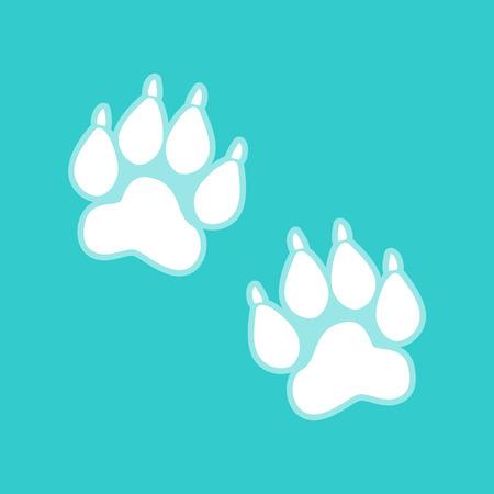 huellas de animales: Pistas animales firman. El icono blanco con fondo blanquecino en torquoise color plano.