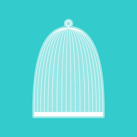caged: Bird cage sign. White icon with whitish background on torquoise flat color.