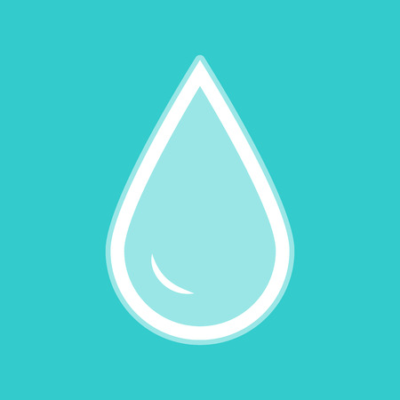 benzine: Drop of water sign. White icon with whitish background on torquoise flat color.