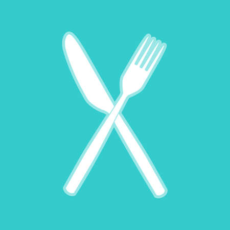 whitish: Fork and Knife sign. White icon with whitish background on torquoise flat color.