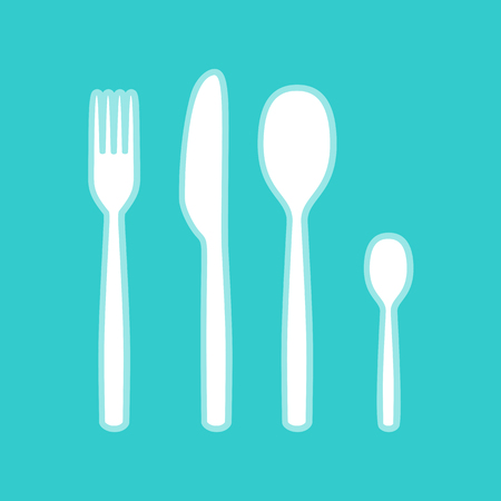 fork and spoon: Fork spoon and knife sign. White icon with whitish background on torquoise flat color.