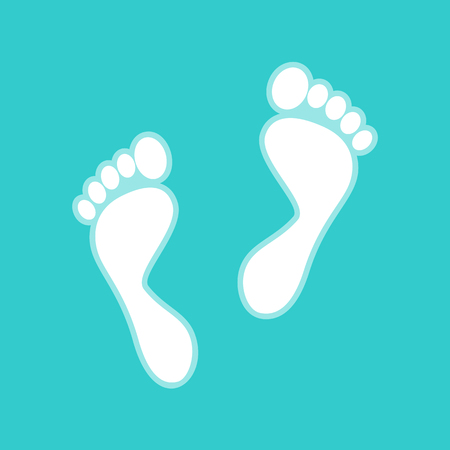 whitish: Foot prints sign. White icon with whitish background on torquoise flat color.
