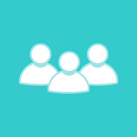 whitish: Team work sign. White icon with whitish background on torquoise flat color. Illustration
