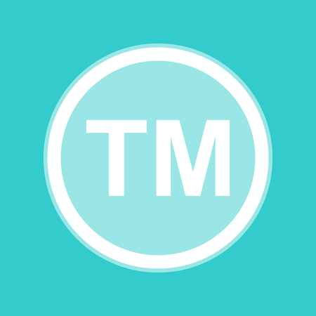 trade mark: Trade mark sign. White icon with whitish background on torquoise flat color.