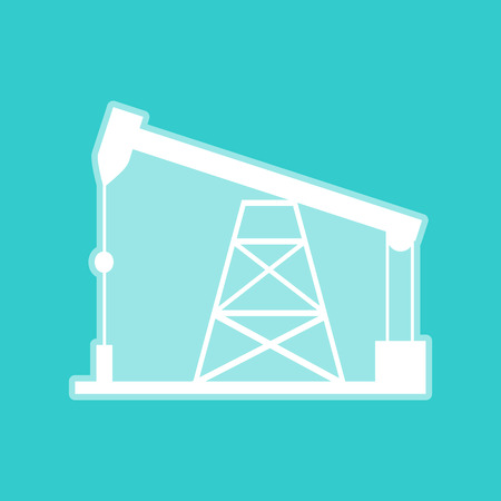 drilling rig: Oil drilling rig sign. White icon with whitish background on torquoise flat color.