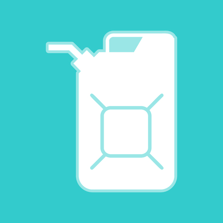 jerry: Jerrycan oil sign. Jerry can oil sign. White icon with whitish background on torquoise flat color.
