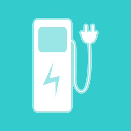 zero emission: Electric car charging station sign. White icon with whitish background on torquoise flat color.